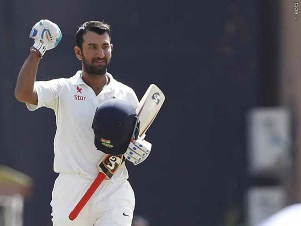 Cheteshwar Pujara celebrates his century on third day of 3rd Test in Ranchi. Photo: BCCI