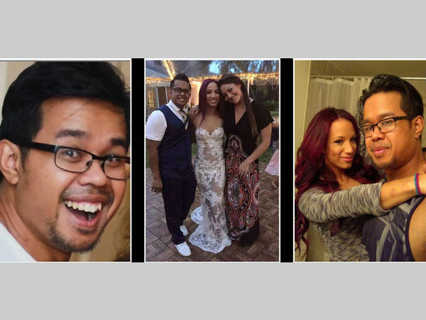 Sasha Banks with her her husband Sarath Ton (extreme left and right). Photos' courtesy - Youtube