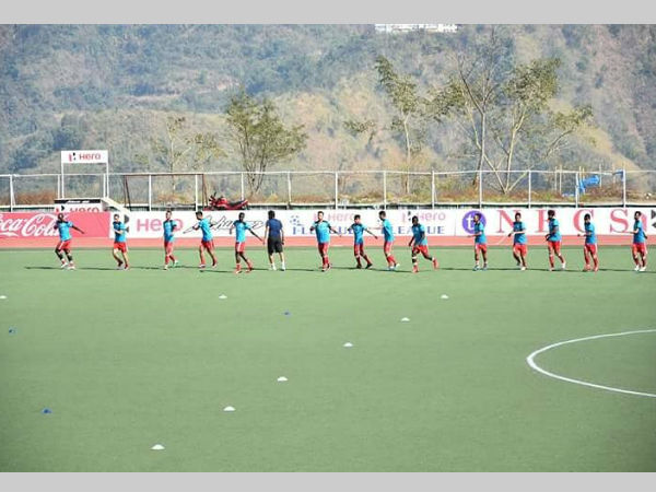 Aizawl FC players are pictured during training. Photo from team's official Twitter page