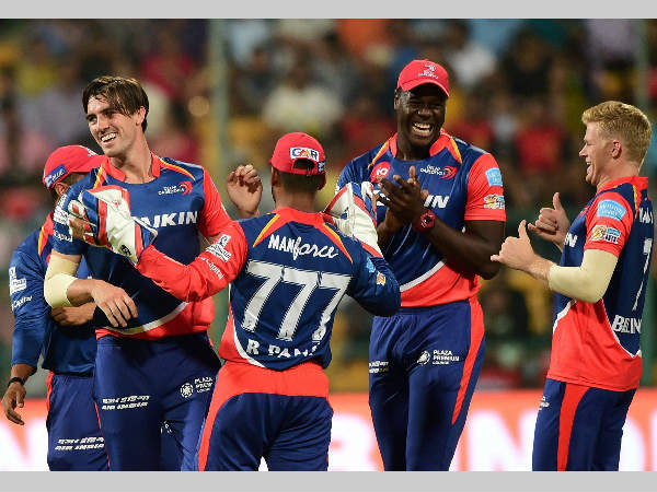 File photo: Delhi Daredevils players celebrate a wicket during their match against Royal Challengers Bangalore in IPL 2017