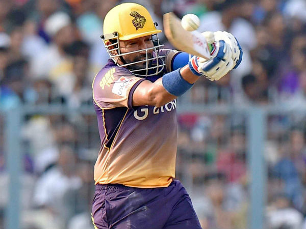 KKR's Robin Uthappa plays a shot en route to his half century against SRH