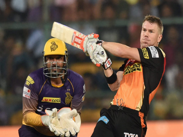 David Warner in action for SRH in the Eliminator against KKR