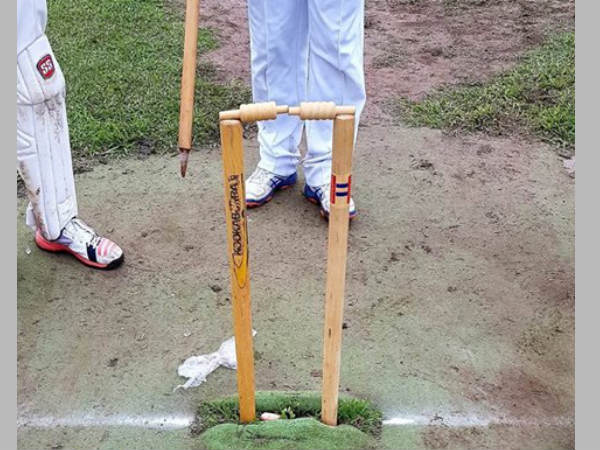 The condition of the stumps during the incident (Image courtesy: MyCricket Facebook page)