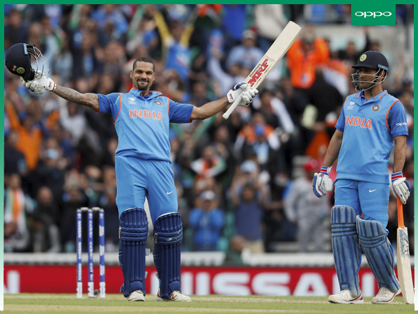 Shikhar (left) celebrates his century against Sri Lanka in Champions Trophy 2017