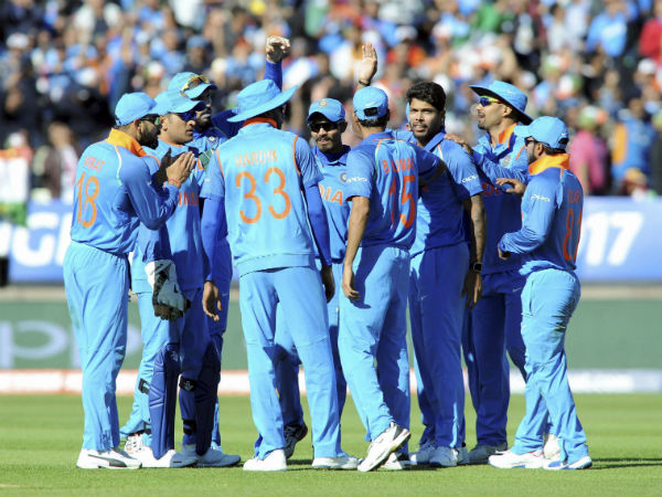 Indian players celebrate a Pakistan wicket at CT 17