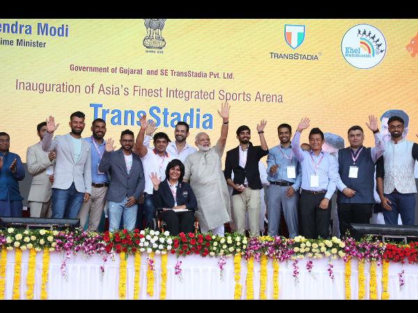 Pm Modi Inaugurates The Arena Transstadia Presence Country Finest Athletes