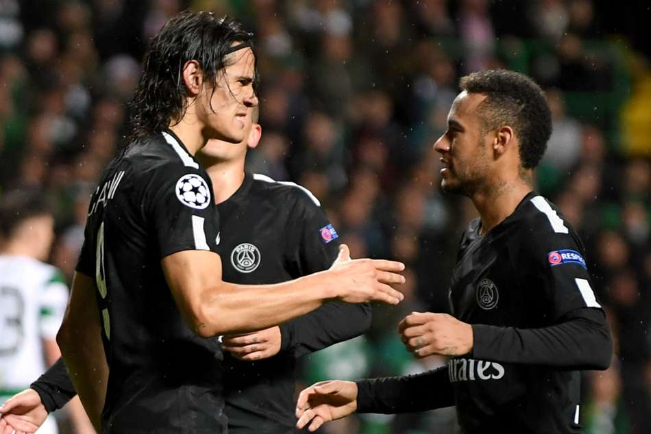 PSG's Edinson Cavani (left) and Neymar celebrate during the 5-0 rout of Celtic