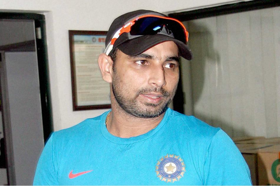 Indian fast bowler Mohammed Shami during a training session
