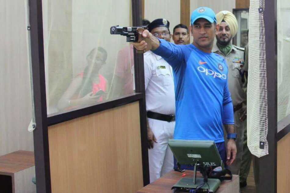 Watch Ms Dhoni Sharpens Shooting Skills As Rain Washes Practice Session