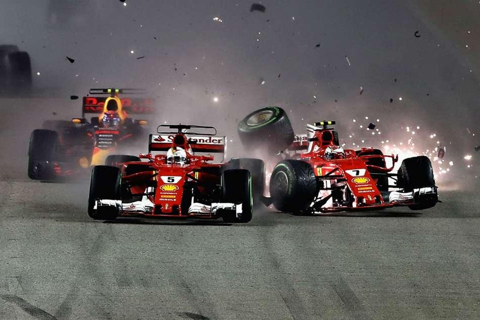 Singapore Grand Prix Lewis Hamilton Sebastian Vettel Crash
