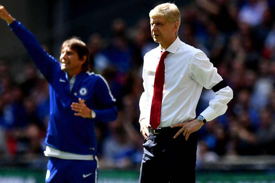 Arsenal manager Arsene Wenger and Chelsea manager Antonio Conte in the background when the two sides met previuosly