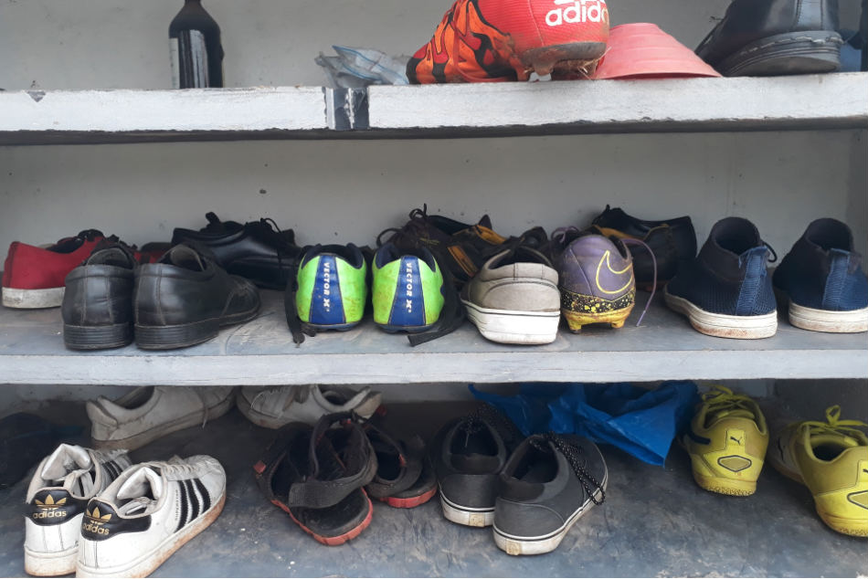 Collection of the shoes of some of the Rebels FC players