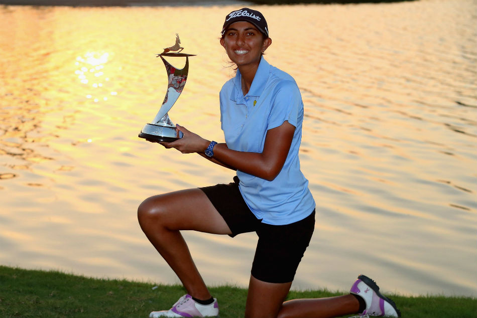 Aditi Ashok poses with her trophy