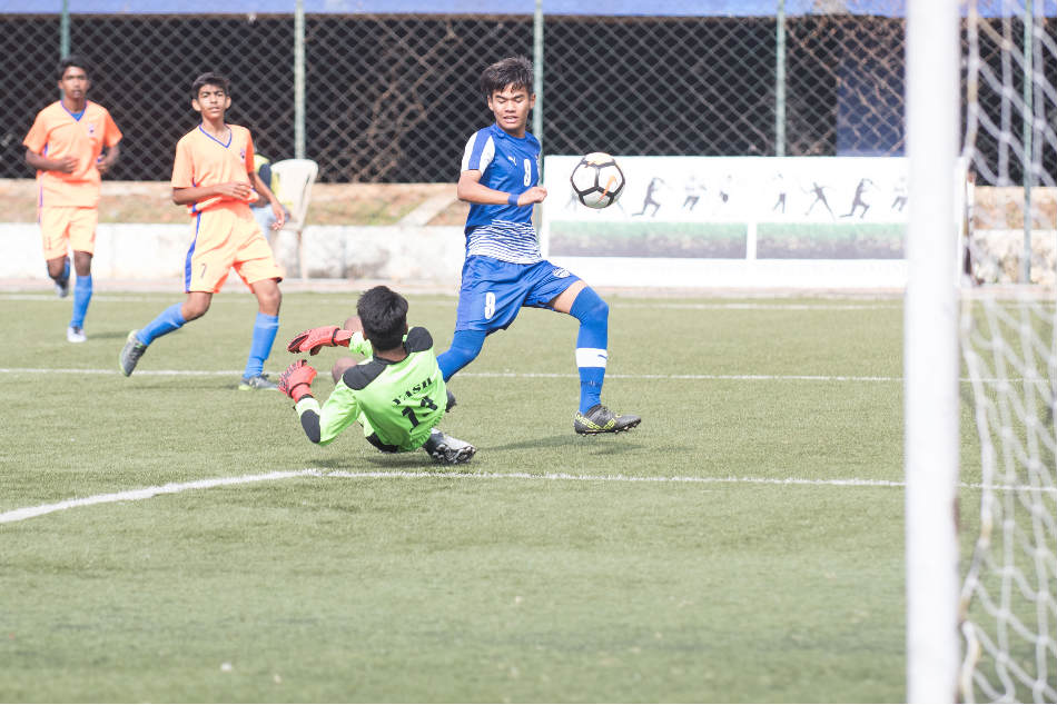 Action from the U-15 Youth League game between Bengaluru FC and Bangalore Youth Football League at the Bangalore Football Stadium on Thursday (Image courtesy: Bengaluru FC)