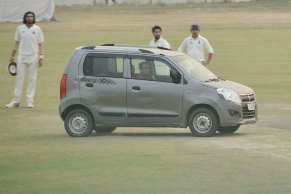 A man drove into the pitch during day three of the Ranji Trophy match between Delhi and Uttar Pradesh at Palam, causing a major security breach (Image courtesy: Twitter)