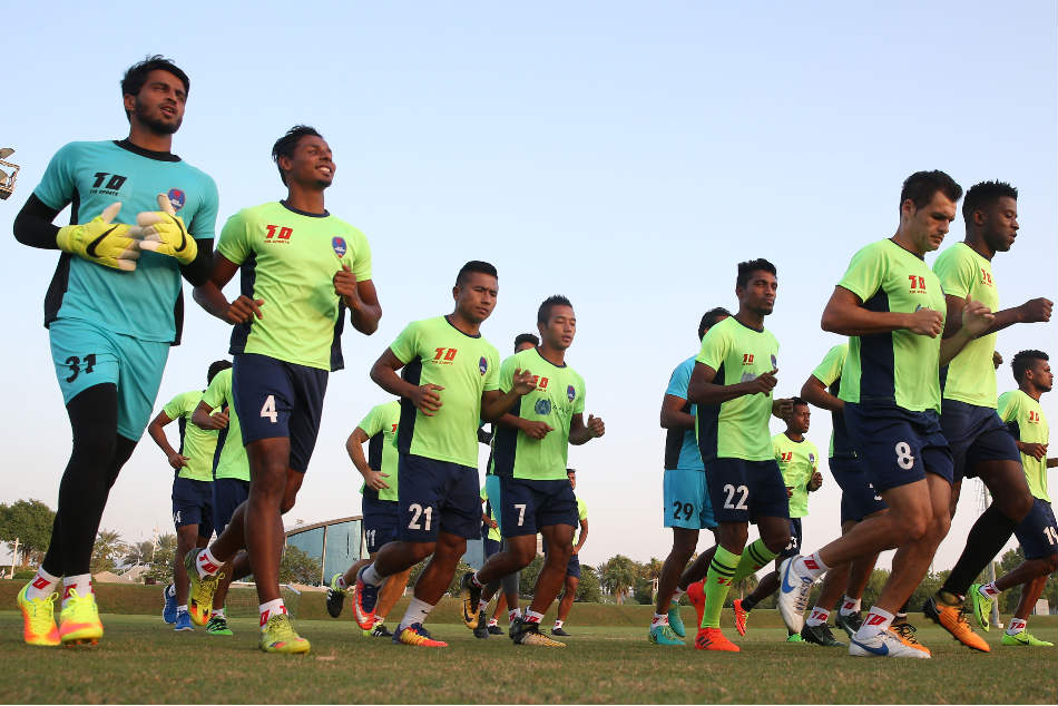 Delhi Dynamos' players during a training session