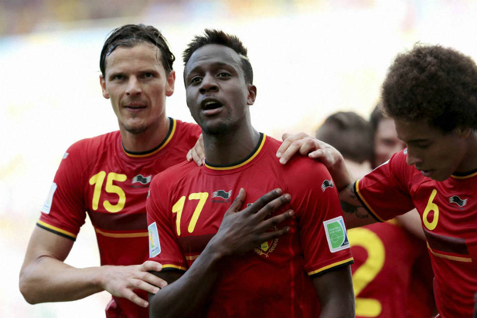 Liverpool's Divock Origi (centre) is currently on loan at Wolfsburg