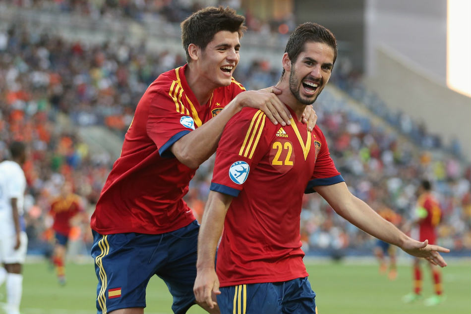 Alvaro Morata and Isco were teammates at Real Madrid until this Summer when Morata left the Bernabeu side to move to Chelsea.