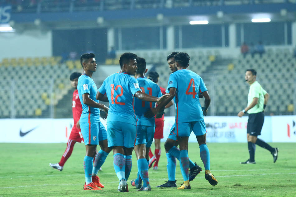 India's Jeje Lalpekhlua (No 12) celebrates with teammates after scoring against Myanmar