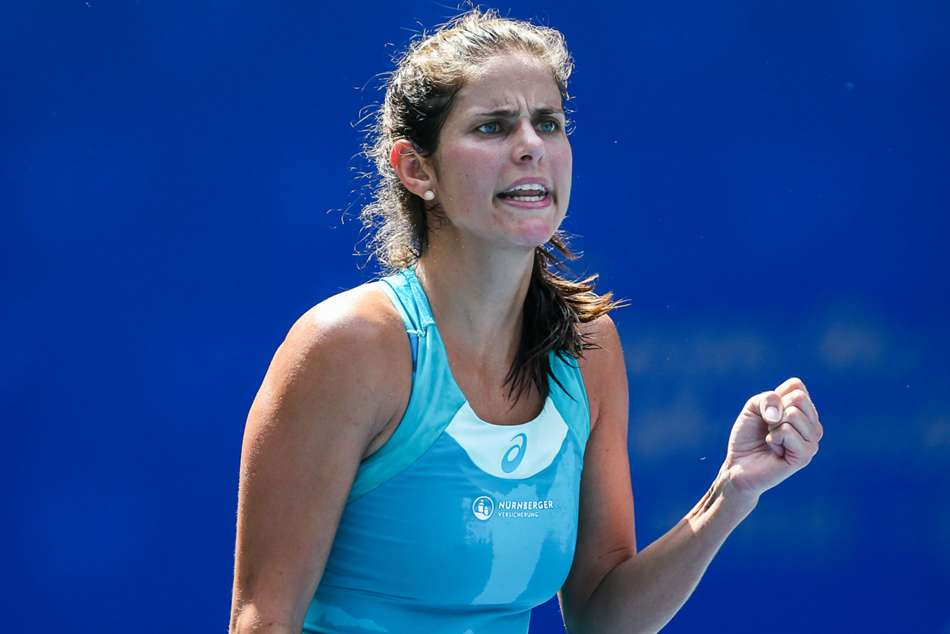 Julia Goerges reacts after winning a point during her WTA Elite Trophy final against Coco Vandeweghe in Zhuhai on Sunday