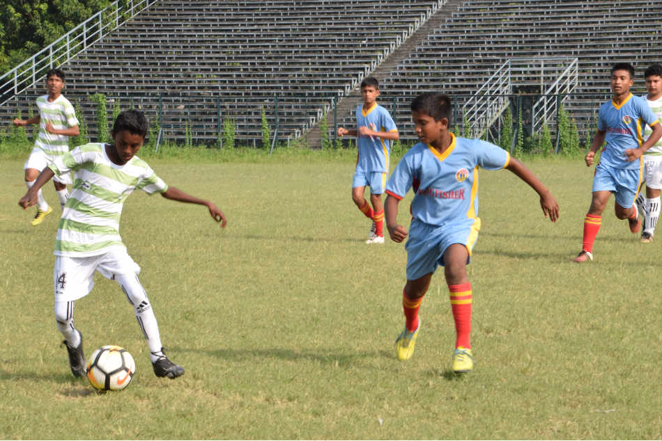 Action from the Under-13 match between Kickstart FC and East Bengal in Kolkata