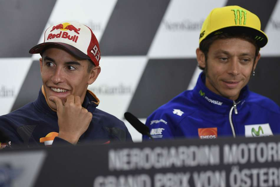 Marc Marquez, left, and Valentino Rossi