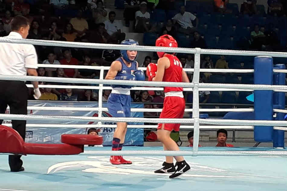 Mary Kom in action in the Asian Boxing final