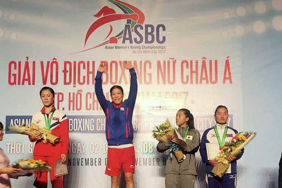 Mary Kom after winning the gold at Asian tourney