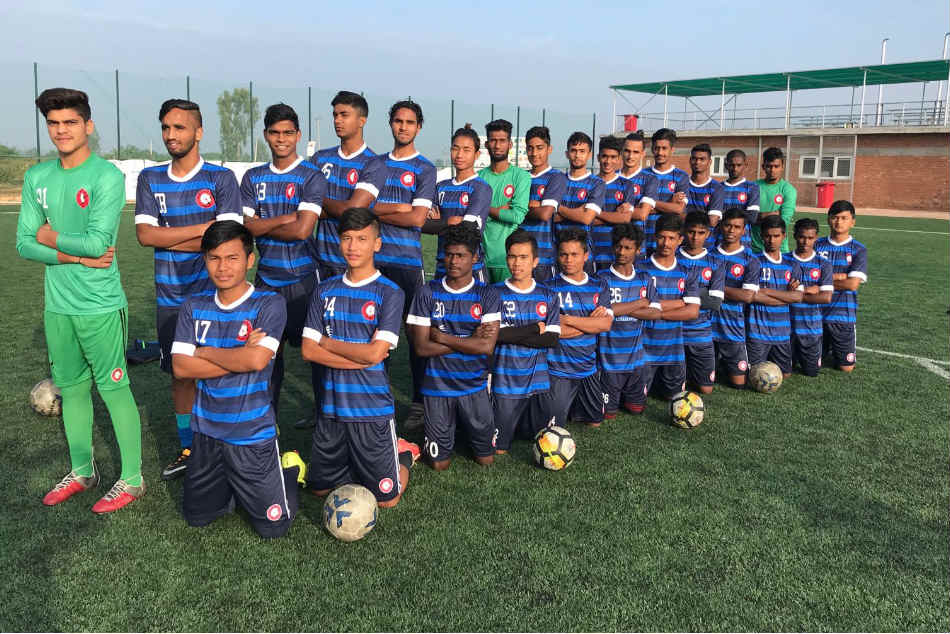 Ozone academy's Under-18 squad after a training session in Bengaluru