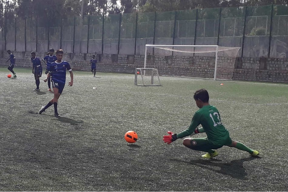 Ozone FC's Under-15 players during a training session