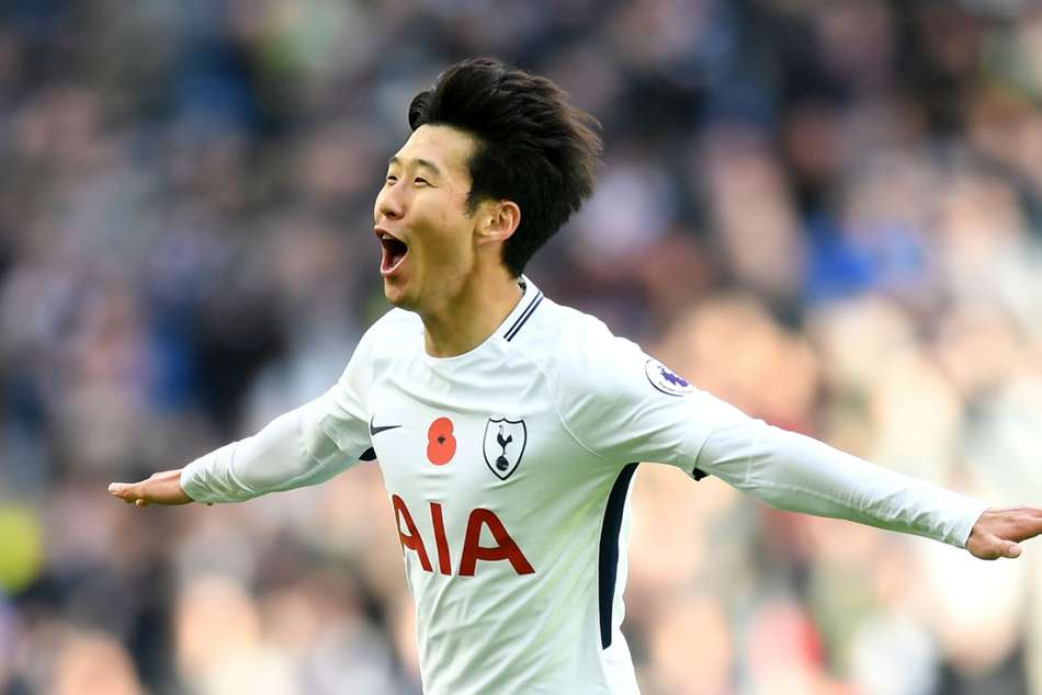 Son Heung-min of Tottenham celebrates after scoring against Crystal Palace during their Premier League game at Wembley on Sunday