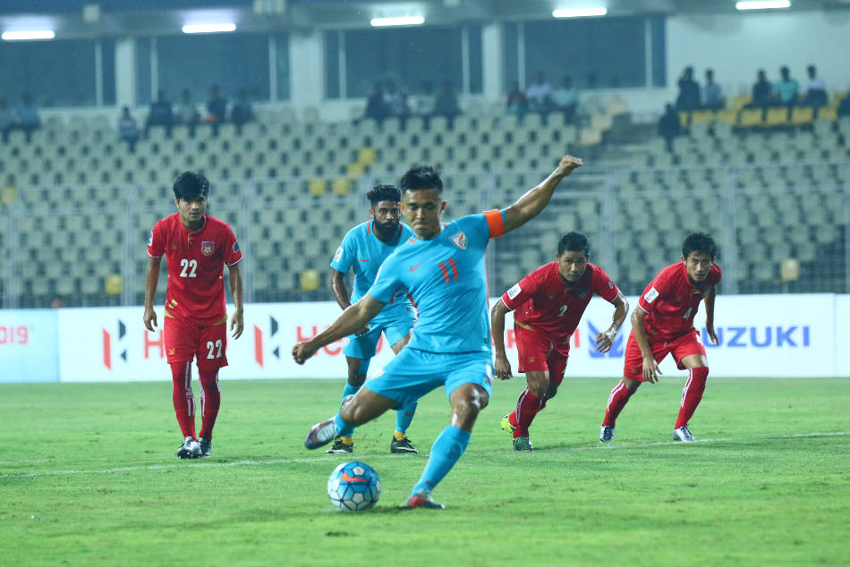 India's Sunil Chhetri converts from the spot against Myanmar in Goa on Tuesday