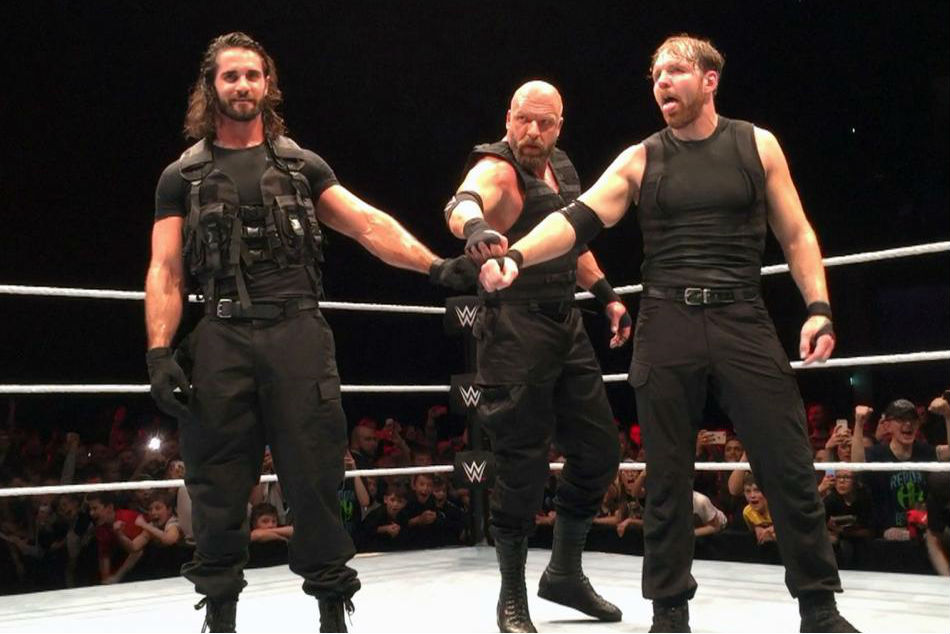 triple h performs as member of the shield in glasgow mykhel. Black Bedroom Furniture Sets. Home Design Ideas