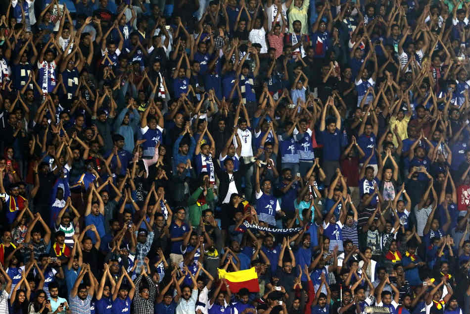 A glimpse of the West Block Blues during the Indian Super League game between Bengaluru FC and Mumbai City FC at the Sree Kanteerava Stadium on Sunday (Image courtesy: ISL Media)