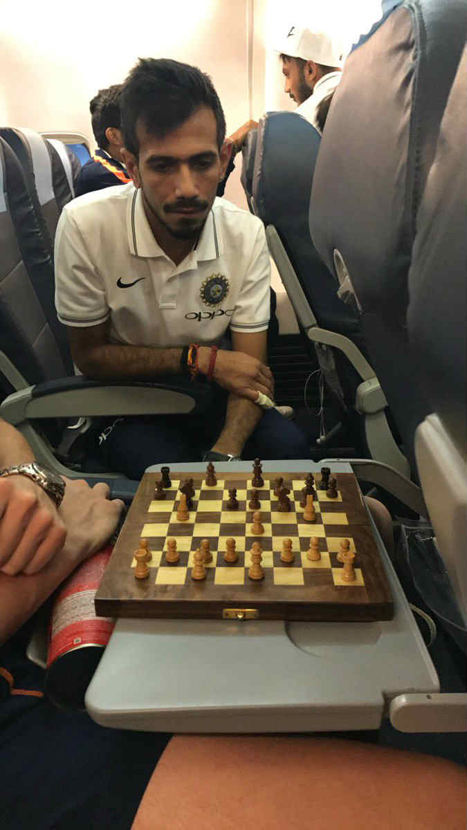 Yuzvendra Chahal playing chess on flight with Ish Sodhi (Pic courtesy player's twitter)