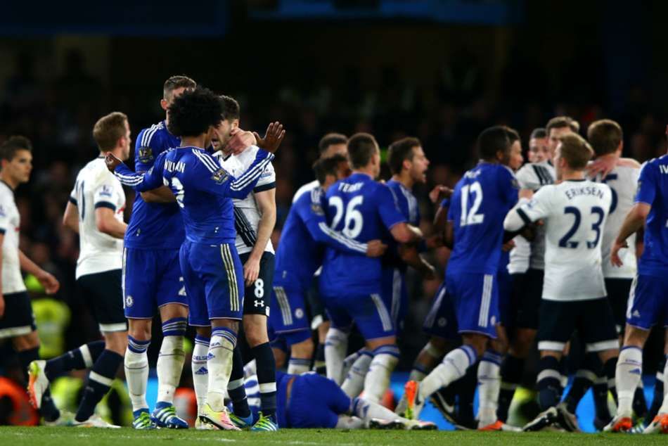 Chelsea and Tottenham players clash in 2016
