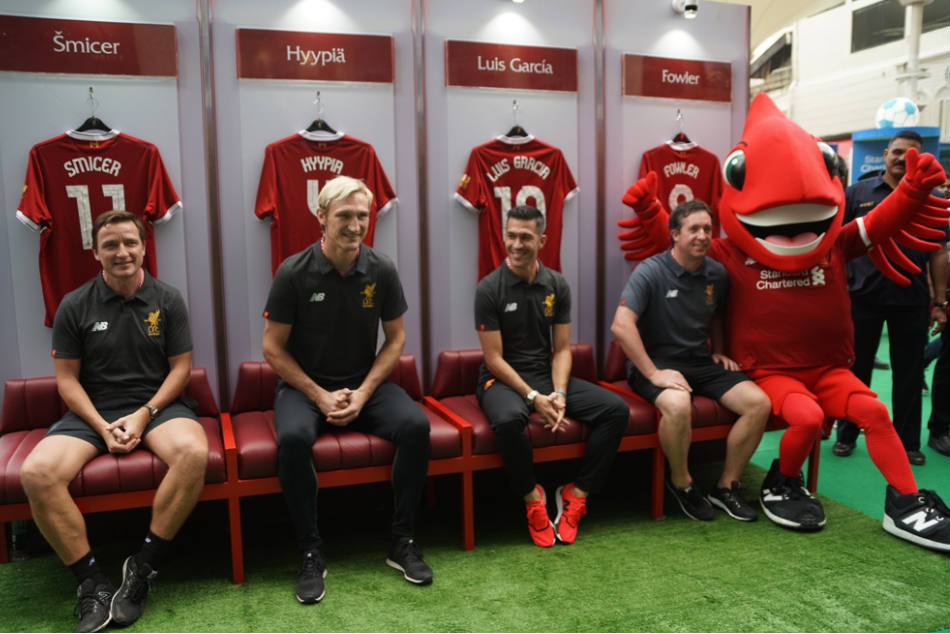 (From left) Smicer, Hyypia, Garcia and Fowler at the LFC World launch in Mumbai on Thursday