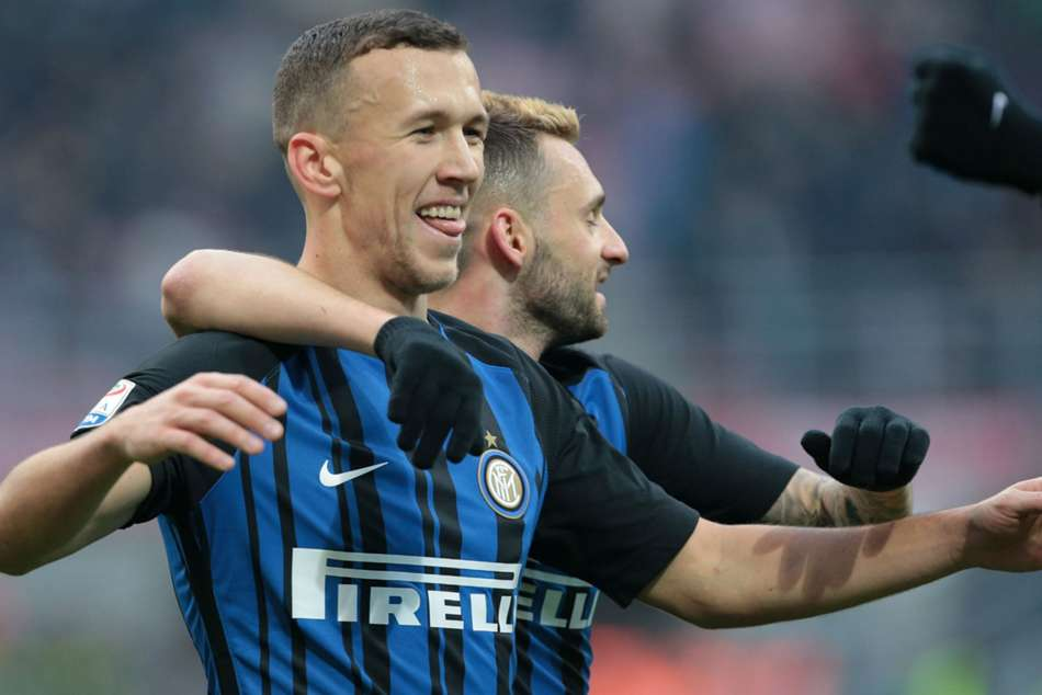 Inter's Ivan Perisic celebrates after scoring a goal