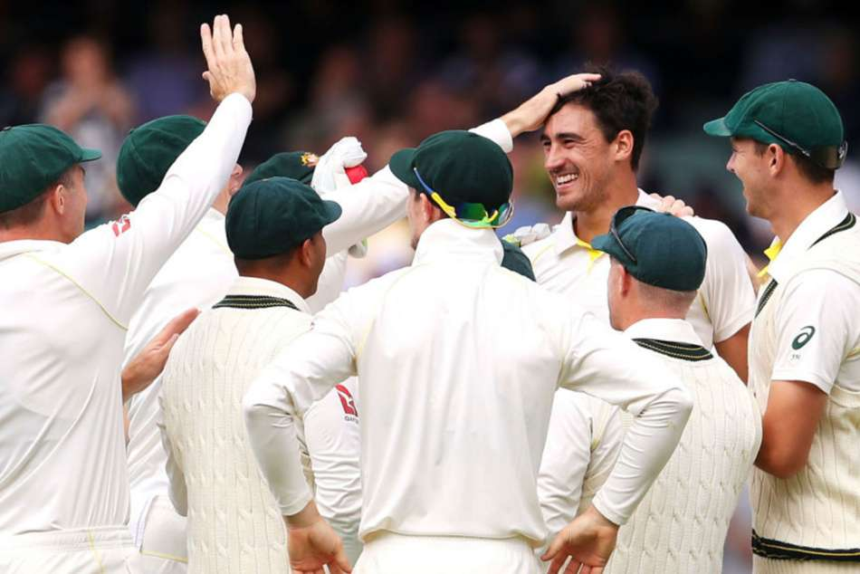 Mitchell Starc of Australia celebrates a dismissal in Adelaide