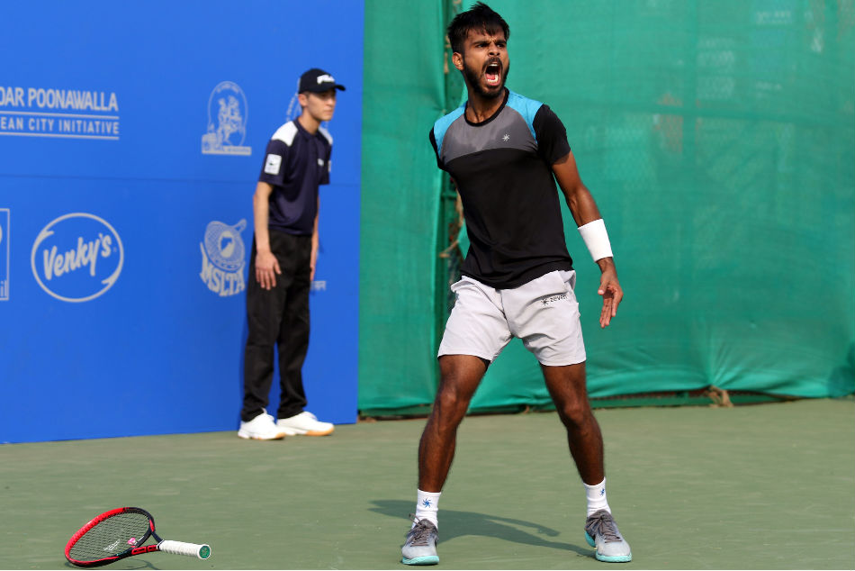 Sumit Nagal is overjoyed after beating Adrian Menendez-Maceiras in their qualifying match for the Tata Open Maharashtra in Pune on Sunday
