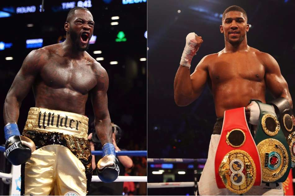 Deontay Wilder (left) wants 50-50 split from Anthony Joshua's purse