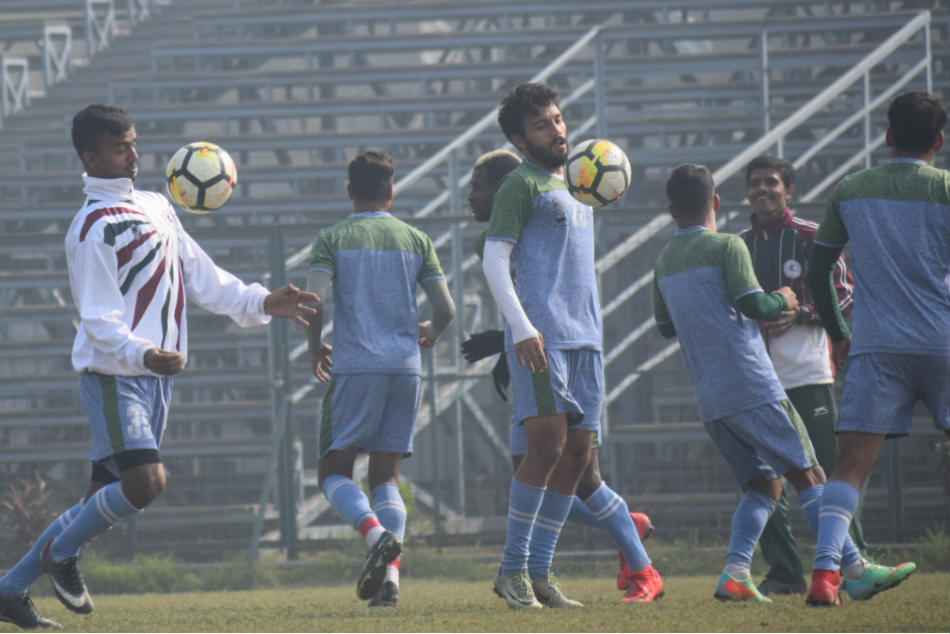 Mohun Bagan players go through the paces during a training session.