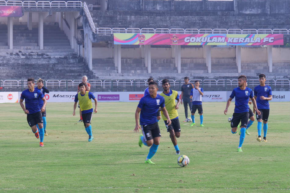 The Indian Arrows players attend a training session.