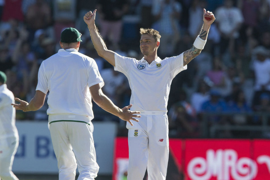 South African bowler Dale Steyn celebrates