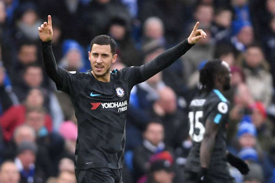 Eden Hazard of Chelsea celebrates after scoring against Brighton and Hove Albion during their Premier League match on Saturday