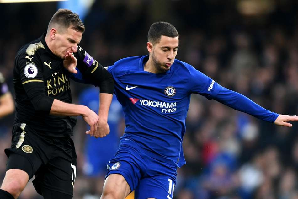 Eden Hazard of Chelsea in action against Leicester on Saturday