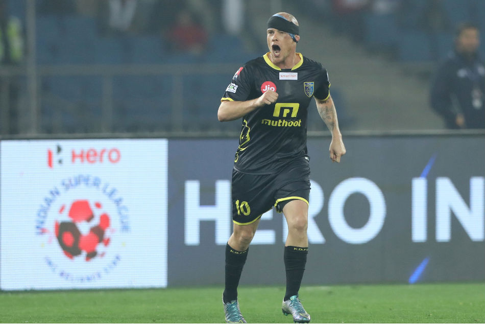 Iain Hume of Kerala Blasters scored a hat-trick in their previous ISL game against Delhi Dynamos (Image: ISL Media)