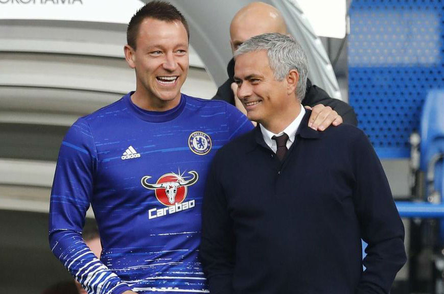 John Terry (left) and Jose Mourinho share a smile during their days at Chelsea