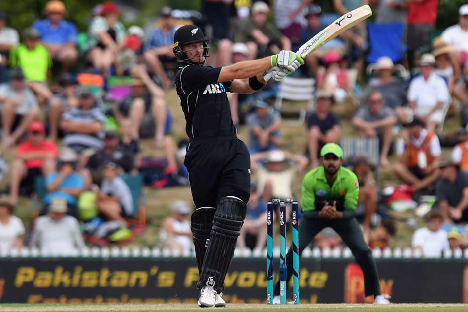New Zealand batsman Martin Guptill plays a pull shot en route to victory against Pakistan