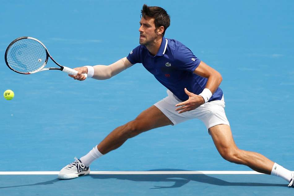 Novak Djokovic in action at Kooyong Classic